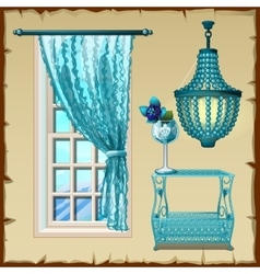 Set for the interior window chandelier and table vector