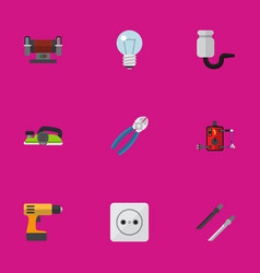 set of 9 editable electric flat icons includes vector image