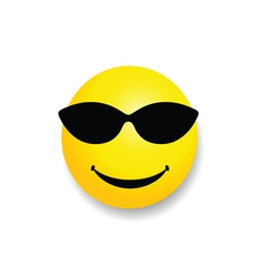 smiley with sunglass yellow vector image