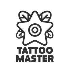 tattoo master studio salon star flower icon vector image