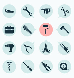 Tools icons set with saw multifunctional pocket vector