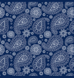 white paisley on a blue vector image