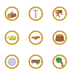 Woodcutter icon set cartoon style vector