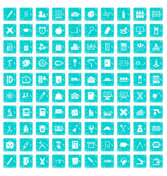 100 pensil icons set grunge blue vector