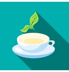 Cup of tea with mint leaves icon flat style vector image