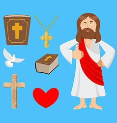 Jesus and accessories holy biblical set son of god vector