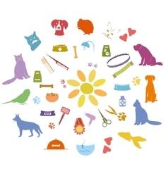 Pet icons set vector