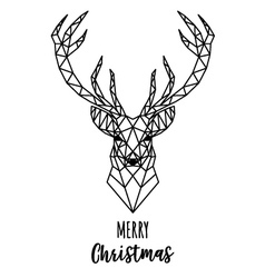 Geometric reindeer christmas card vector