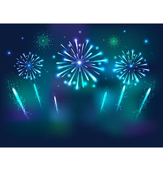 Set of festive fireworks on the blue background vector