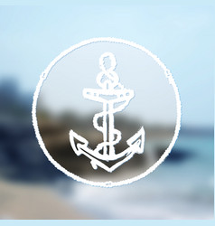 ink hand drawn anchor on blurred sea background vector image