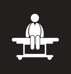 stylish black and white icon man on stretcher vector image