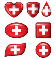 Switzerland flag in various shape glossy button vector