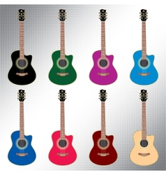 Colored acoustic guitars vector