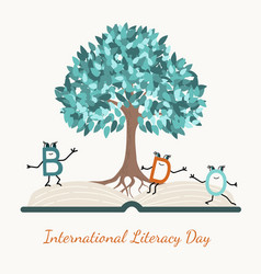 literacy day concept tree book letter characters vector image
