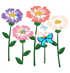 Blooming flower with butterflies vector image