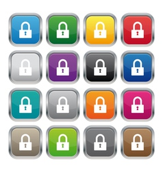 Lock metallic square buttons vector image