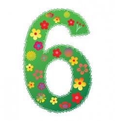 floral number 6 vector image