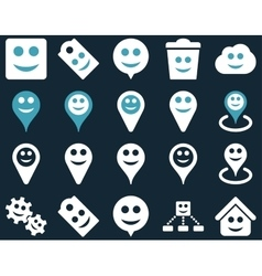 Tools emotions smiles map markers icons vector