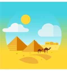 Flat design landscape with camel and egyptian vector