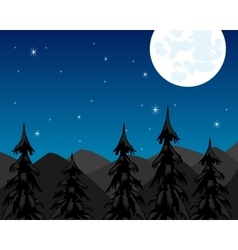 Night in mountain and moon vector