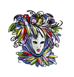 Venetian mask sketch for your design vector