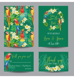 Save the date card - tropical flowers and birds vector