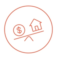 House and dollar symbol on scales line icon vector