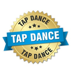 Tap dance 3d gold badge with blue ribbon vector