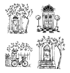 Set of architecture details drawings vector
