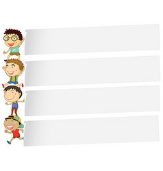 Banner design with many boys vector