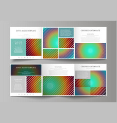 Business templates for tri fold square brochures vector