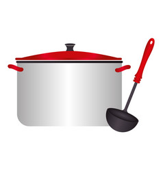 color silhouette with pans and soup ladle vector image