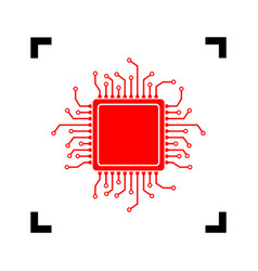Cpu microprocessor red icon vector