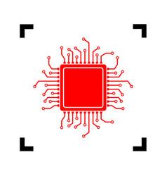 cpu microprocessor red icon vector image