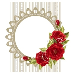 Delicate frame with roses and pearls vector image vector image
