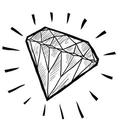 doodle gem diamond luxury vector image