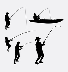 Fishing people silhouette vector image vector image