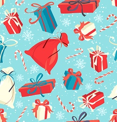 Funny Merry Christmas seamless pattern with gift vector image
