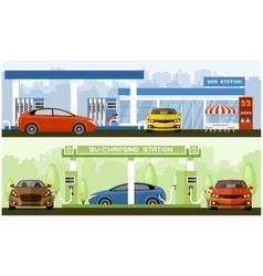 Gas and EV charging station vector image vector image