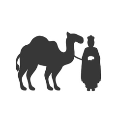 gray silhouette wise man with camel icon flat vector image vector image