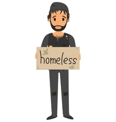 Homeless man in dirty old clothes vector
