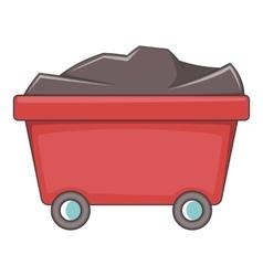 Mine cart icon cartoon style vector