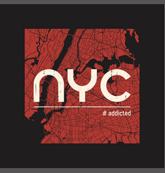new york addicted t-shirt and apparel vector image vector image