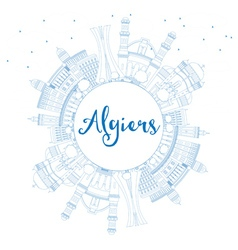 Outline algiers skyline with blue buildings vector