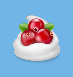 Red cranberry in yogurt or cream vector