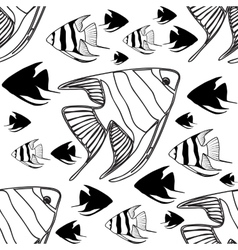 seamless pattern with scalar fishes vector image
