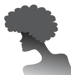 silhouette of a girl with lush hair in profile vector image