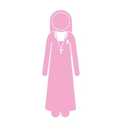 Silhouette pink nun with ribbon of breast cancer vector