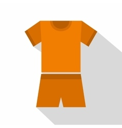 Sport orange shirt and shorts icon flat style vector