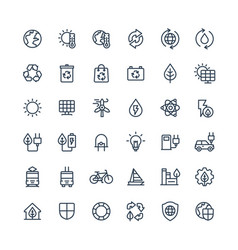 thin line icons set with environmental and vector image vector image